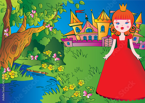 Poster Kasteel Beautiful princess on the meadow in a red dress. Fairy-tale.