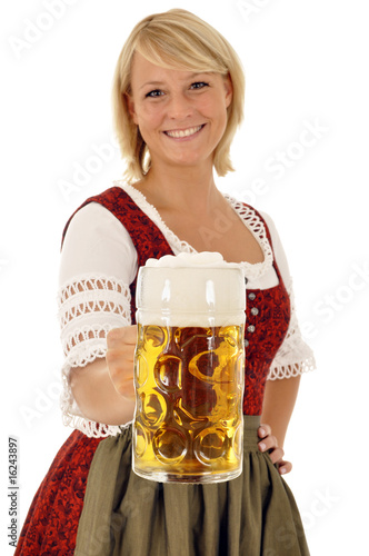 Fotografie, Obraz  Junge Frau im Dirndl mit Maßkrug Bier
