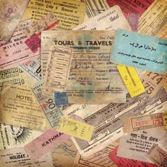 Fototapeta vintage travel background made of old documents