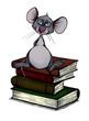 canvas print picture - Leseratte, Maus, Bücher, Schule, Bibliothek