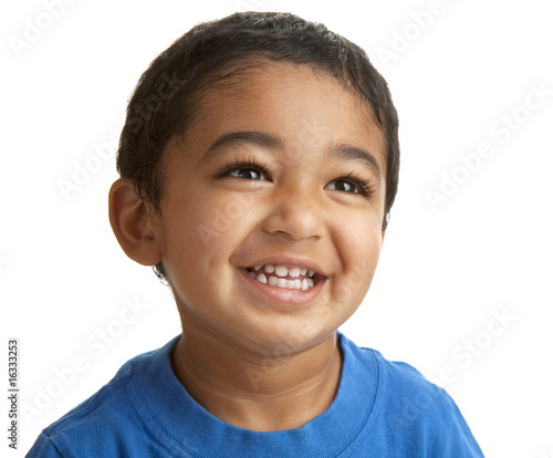 Valokuvatapetti Portrait of a Smiling Toddler Isolated on White