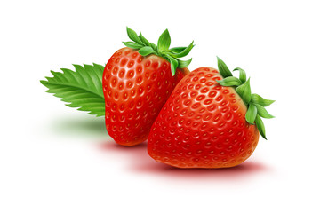 Two strawberries and leaf