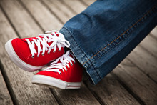 Red Sneakers And Jeans