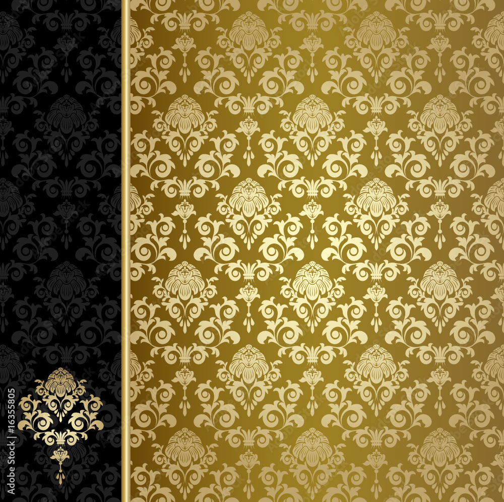 Fototapety, obrazy: Background with gold flowers and leaves