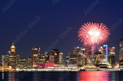 Downtown Vancouver with Canada Day Celebration fireworks