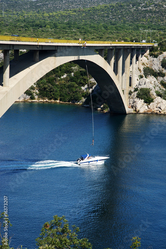 Canvastavla Brücken Bungee auf Boot