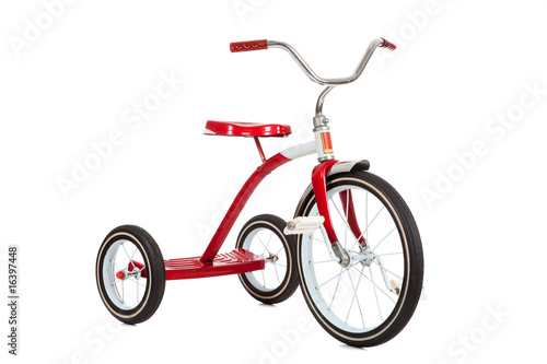 In de dag Fiets Red Tricycle on White