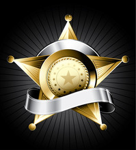 Golden Sheriff Badge Design Wi...