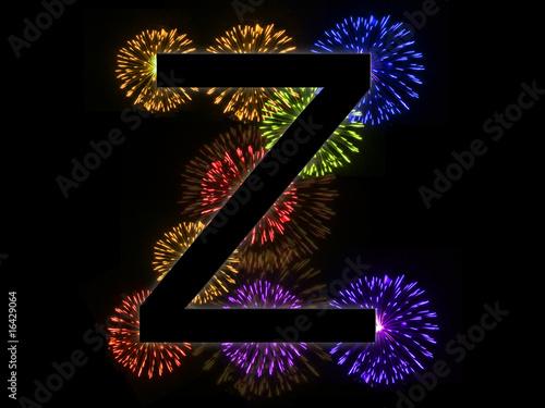 Valokuva  Lettre Z alphabet avec feu d'artifice en arrière