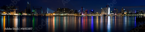 Foto op Canvas Rotterdam Night panorama of Rotterdam and Mass River