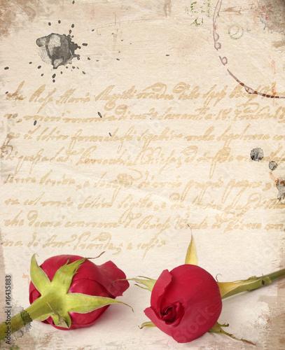 Foto-Stoff bedruckt - Two red roses vintage card (von Flavia Morlachetti)