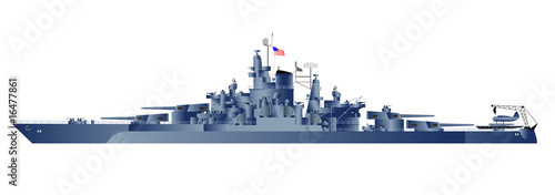 Foto Detailed vector illustration of battleship Tennessy.