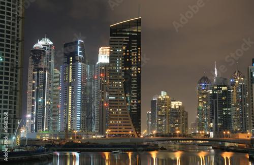 Aluminium Prints Red Dubai Marina at night, United Arab Emirates