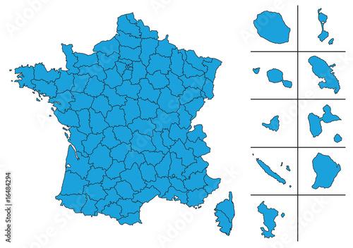 carte des dom tom Carte de France vectoriel avec Départements et le DOM TOM   Buy