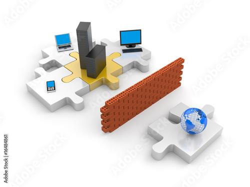 Fotografía  Firewall. Information security concept