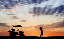 Silhouette Of Golfer With Golf...