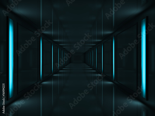 3d Dark corridor with blue lamps on walls