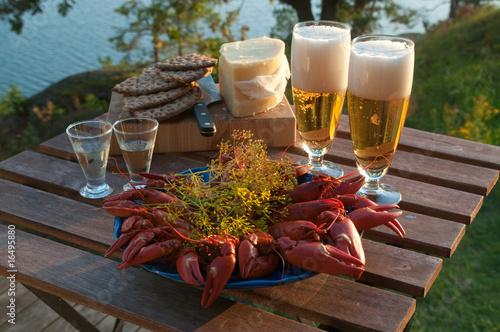 Canvastavla Table set for traditional swedish crayfish party