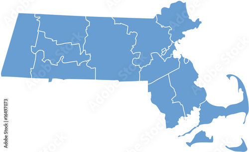 Massachusetts map Wallpaper Mural