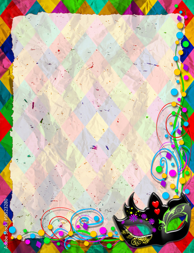 Photo sur Aluminium Draw Maschera Arlecchino-Mask Background-Masque Arlequin-Verticale