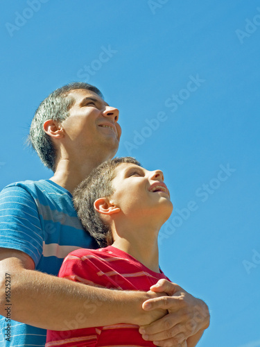 happy father and his son outdoors Poster