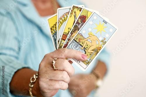 Obraz na płótnie frau hand tarot