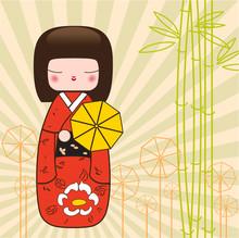 Japanese Kokeshi Doll Vector F...