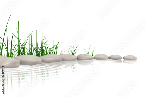 Photo  Stones & grass at waters edge