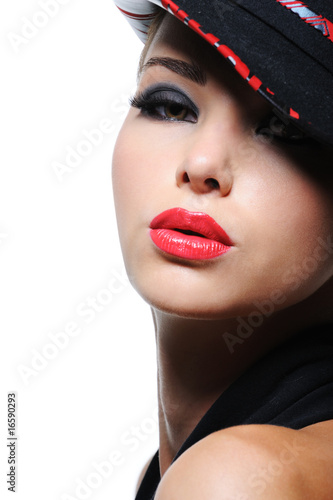 Woman in the fashion hat with bright red lips Poster