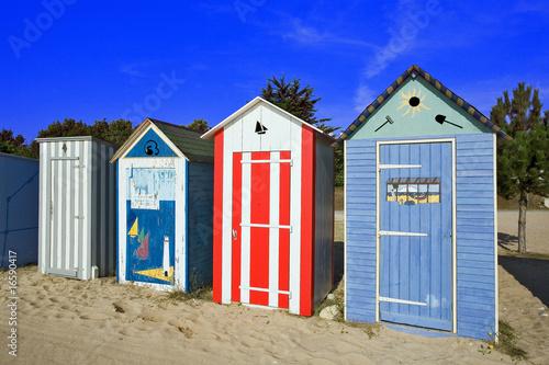 Foto op Canvas Oceanië france; charente maritime; oléron; st denis : cabines de plage