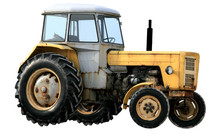 Yellow Tractor Isolated On Whi...