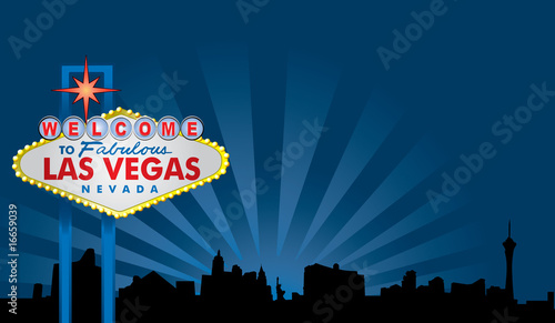 Las Vegas Sign with City Skyline Canvas Print