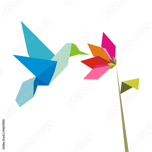 Origami  hummingbird  and flower on white Poster