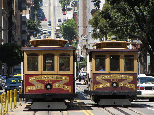 Deurstickers San Francisco cable cars at san francisco