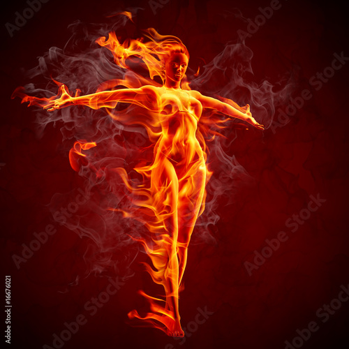 Stickers pour porte Flamme Fire girl