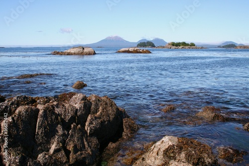Fotografie, Obraz  Mt. Edgecumbe Volcano at Sitka Alaska with Rocky Coast
