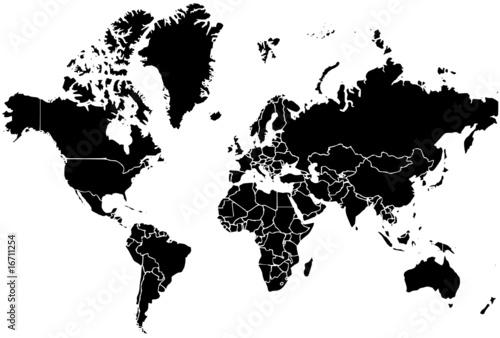 carte du monde noir et blanc design Illustration d'une carte du monde noire sur fond blanc   Buy this