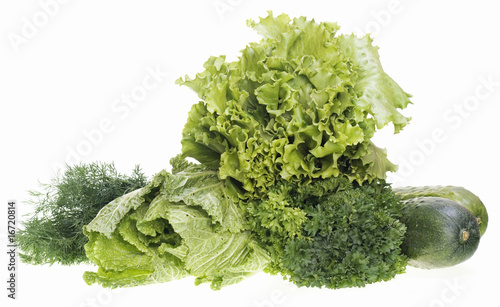 Poster Chamaleon Greens isolated on white background.