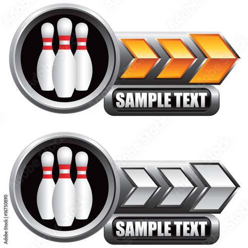 Bowling pins on gold and silver arrow banners - Buy this