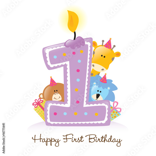 Happy First Birthday Candle and Animals Isolated on white Poster