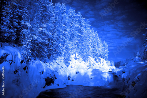 Foto auf Gartenposter Blau Jeans end of evening in deep forest lake with water torrent