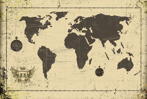 Foto op Canvas Wereldkaart Grunge ancient world map with coat of arms