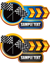 Racing Checkered Flags Gold Ar...