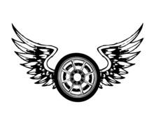 Wings And Wheel Chopper Tattoo