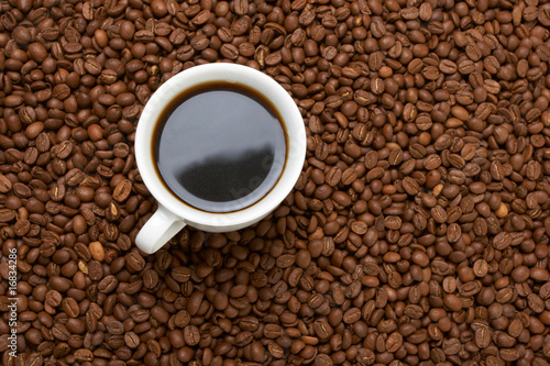 Canvas Prints Cafe Cup with coffee, costing on coffee grain
