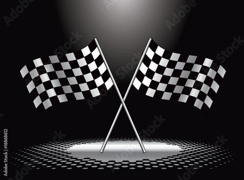 Fotografie, Obraz  Racing checkered flags under spotlight