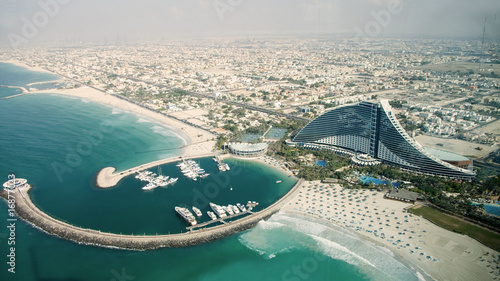Dubai Aerial View of Jumeirah Hotel from Burj Al Arab in Dubai