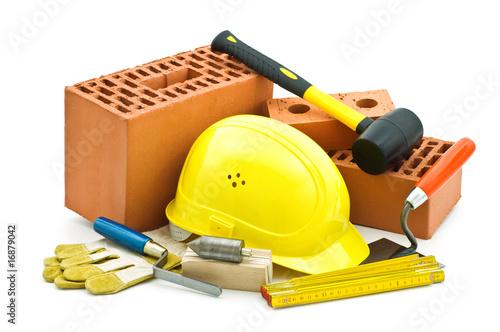 Fotografía  mason tools on white background