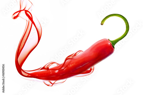 Photo  red hot chili pepper with smoke on white