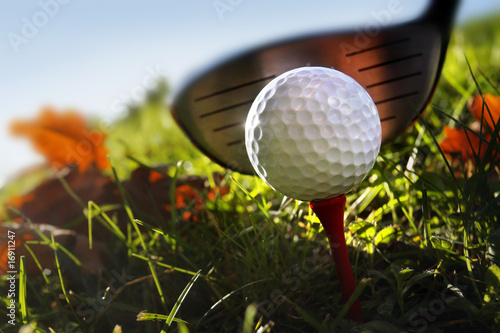 Photo sur Aluminium Golf Golf club and ball in grass